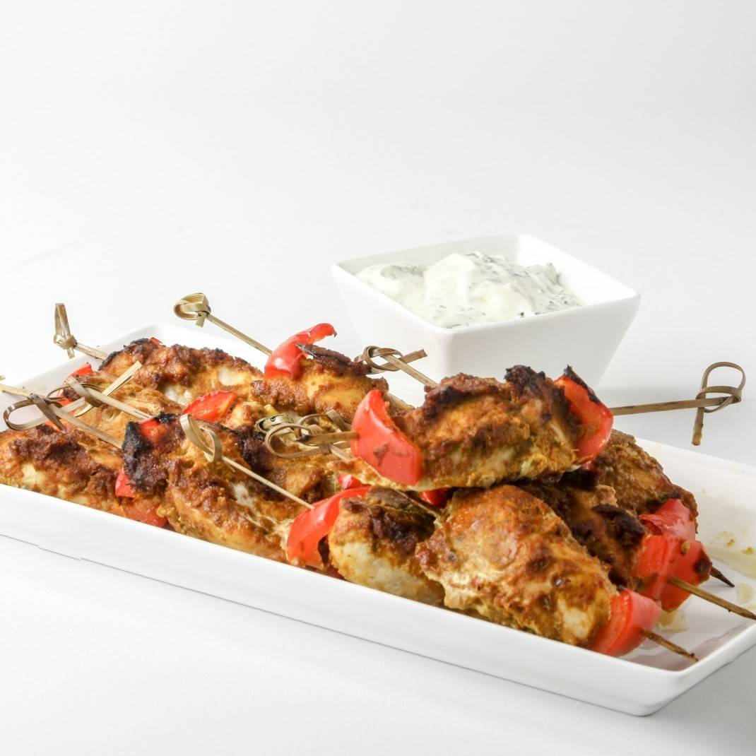 Tandoori Chicken Skewers with Dip