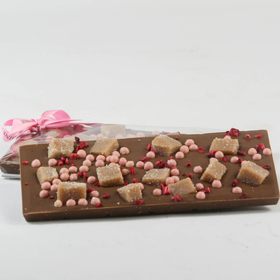 Sea Salted Fudge with Strawberry & Raspberry  Milk Chocolate Bar