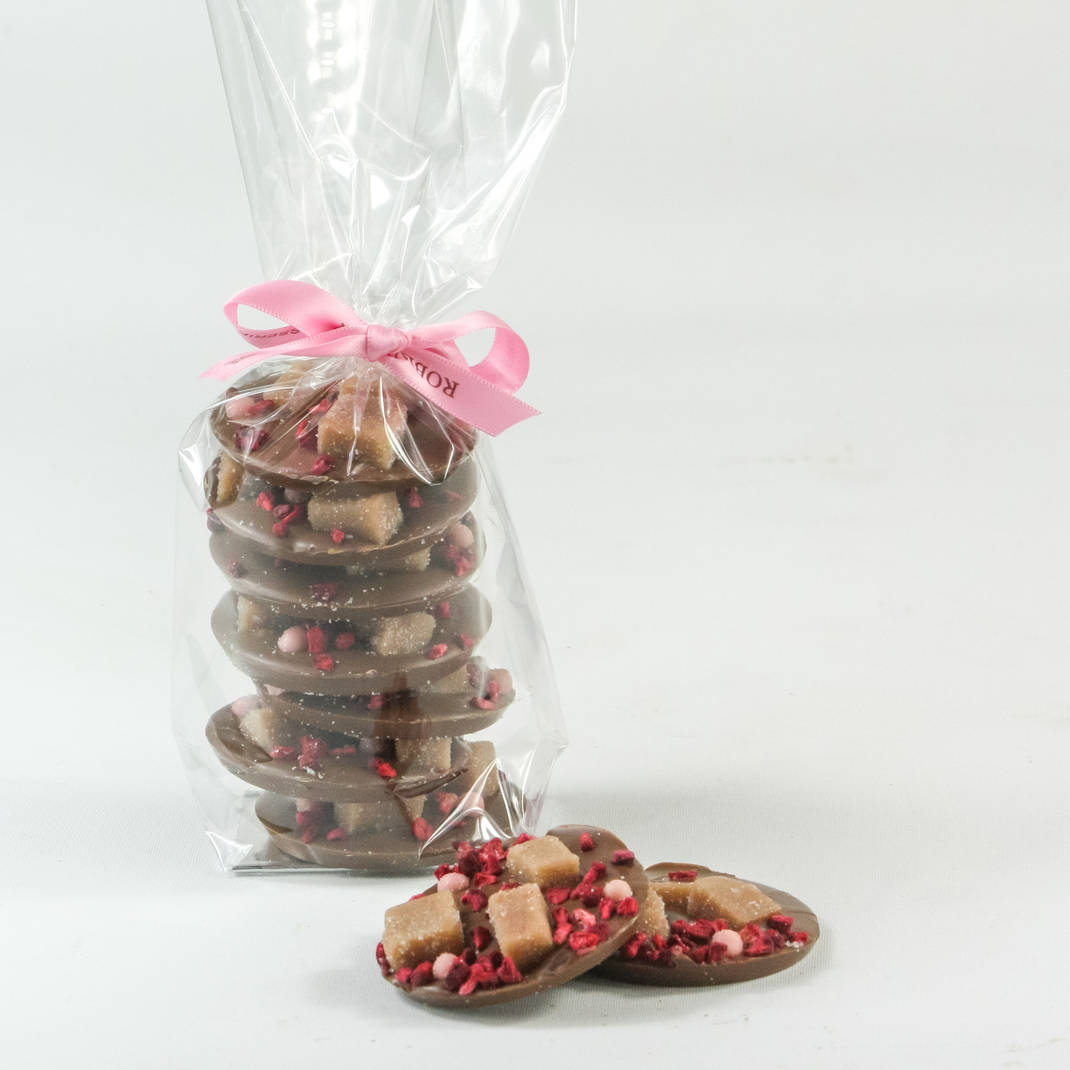 Sea Salted Fudge on Milk Chocolate Discs with Strawberry & Raspberry