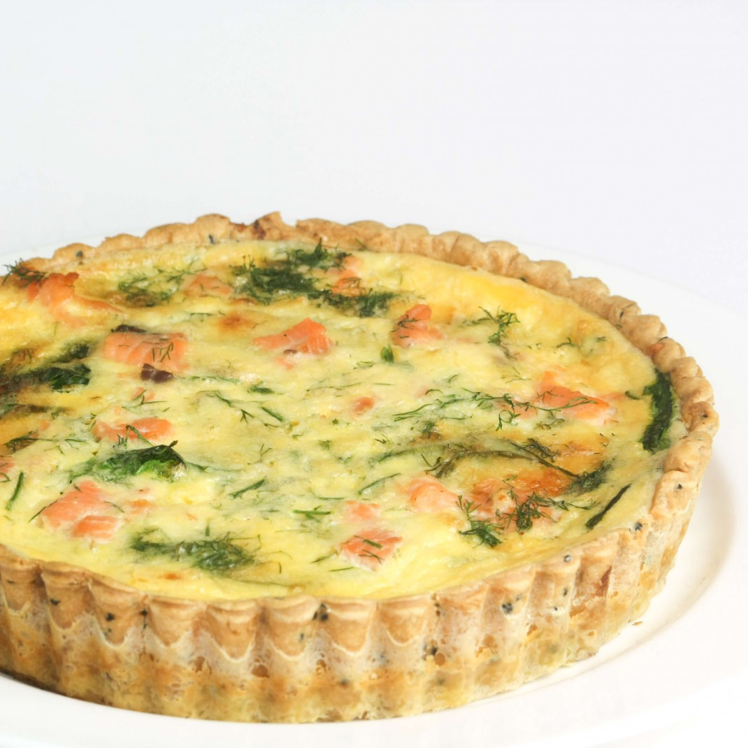 Small Quiche: Poached Salmon, Spinach and Dill